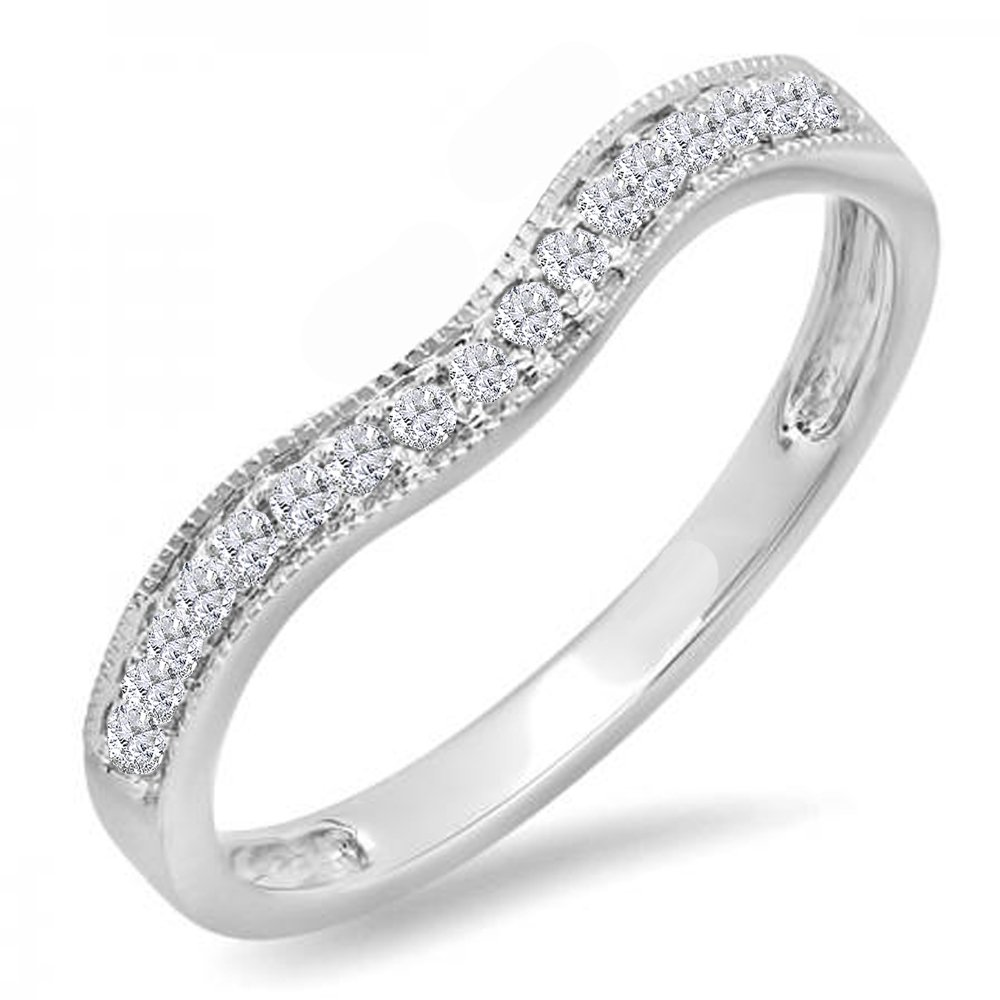 Dazzlingrock Collection 0.15 Carat (ctw) 14K Round Diamond Ladies Anniversary Wedding Band Guard Ring, White Gold, Size 7.5