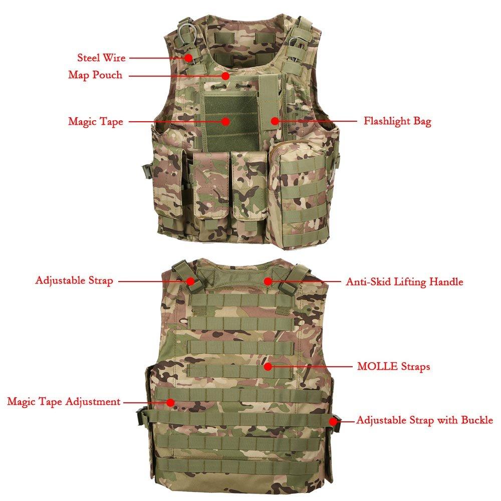 Lixada Chaleco al Aire Libre Chaleco Combate Body Molle Jacket CS Jungle Equipment