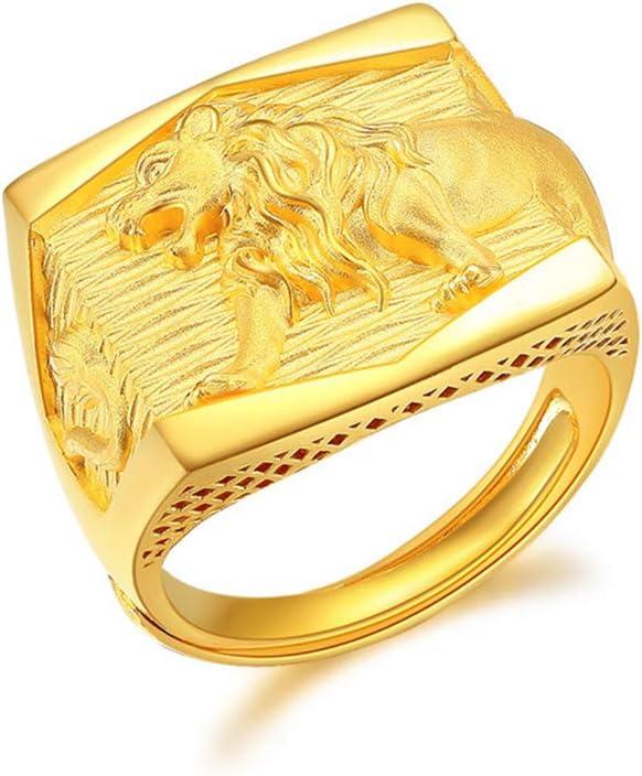 YZJYB Oro Puro 24K Leon De Oro Personalizado Grabado Inicial Anillo para Hombres Mujeres Muchachos Hombres Anillos, Talla Ajustadores 17~21 Anillo Abierto