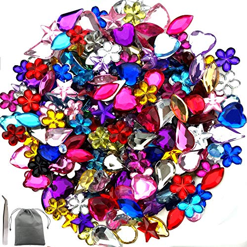 (JPSOR 600 Pcs Gems Acrylic Flatback Rhinestones Gemstone Embellishments, 6 Shapes, 6-13mm, with Tweezers and Bag (600 Pcs))