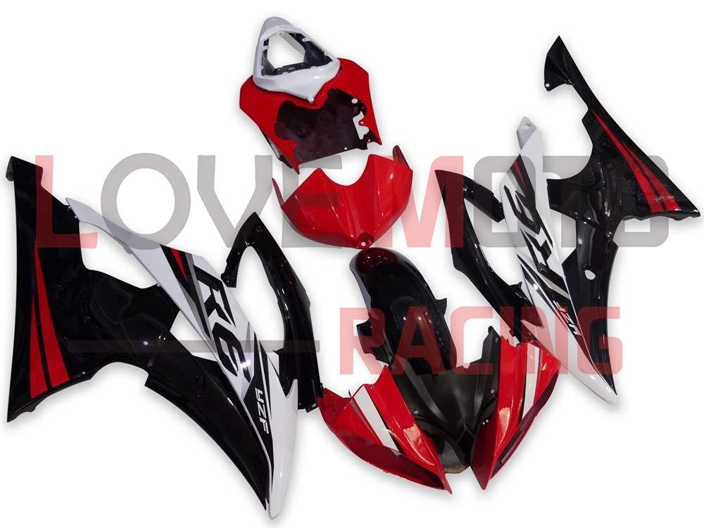 LoveMoto ブルー/イエローフェアリング ヤマハ yamaha YZF-600 R6 2008 2009 2010 2011 2012 2013 2014 2015 600 ABS射出成型プラスチックオートバイフェアリングセットのキット レッド ブラック   B07KKB7BB9
