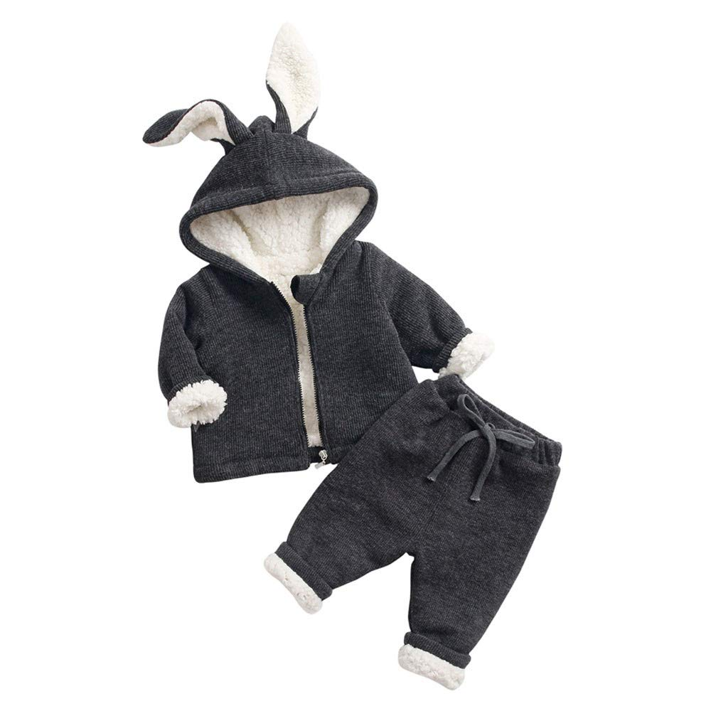 Suma-ma 6M-6T Kids Rabbit Ear Hoodie Blouse Pant Winter Warm Outfit Set