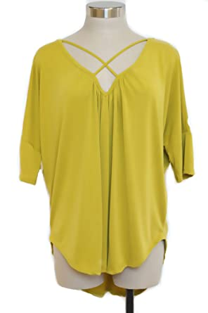 2fd323a833f Image Unavailable. Image not available for. Color  Plus Size Solid Mustard  Jersey Knit top ...