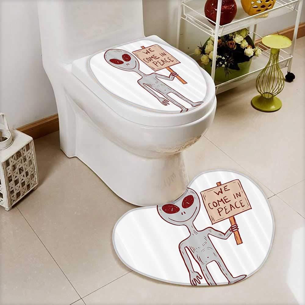 2 Piece Shower Mat set Martian Creature with Peace Phrase Solar Revoluti Galaxy Custom made Heart shaped foot pad Set
