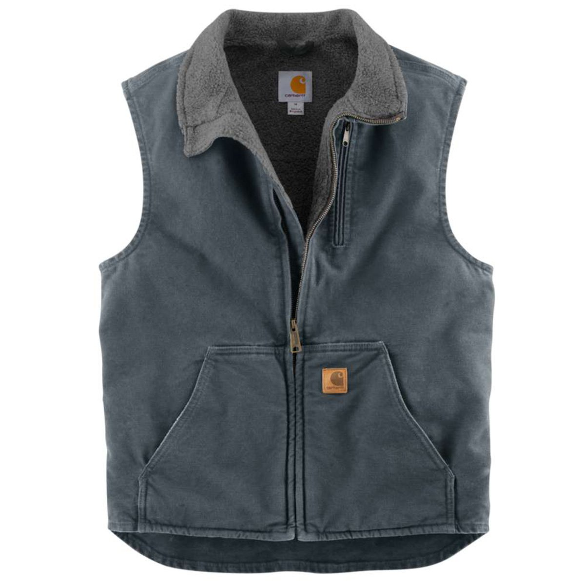 Carhartt Men's Big & Tall Sherpa Lined Sandstone Mock Neck Vest V33,Gravel,X-Large Tall