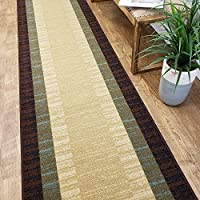 CUSTOM CUT 22-inch Wide by 18-feet Long Runner, Brown Teal Bordered Non Slip, Non-Skid, Rubber Backed Stair, Hallway, Kitchen, Carpet Runner Rug - Choose your Width by Length