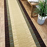 CUSTOM CUT 31-inch Wide by 4-feet Long Runner, Brown Teal Bordered Non Slip, Non-Skid, Rubber Backed Stair, Hallway, Kitchen, Carpet Runner Rug – Choose your Width by Length