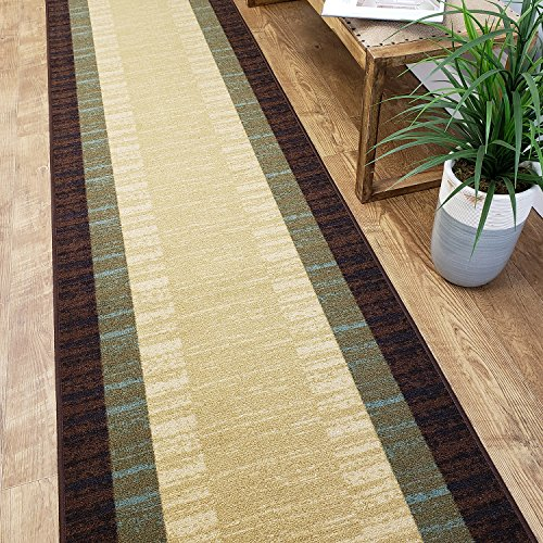14' Bathroom Sink - CUSTOM CUT 22-inch Wide by 14-feet Long Runner, Brown Teal Bordered Non Slip, Non-Skid, Rubber Backed Stair, Hallway, Kitchen, Carpet Runner Rug - Choose your Width by Length