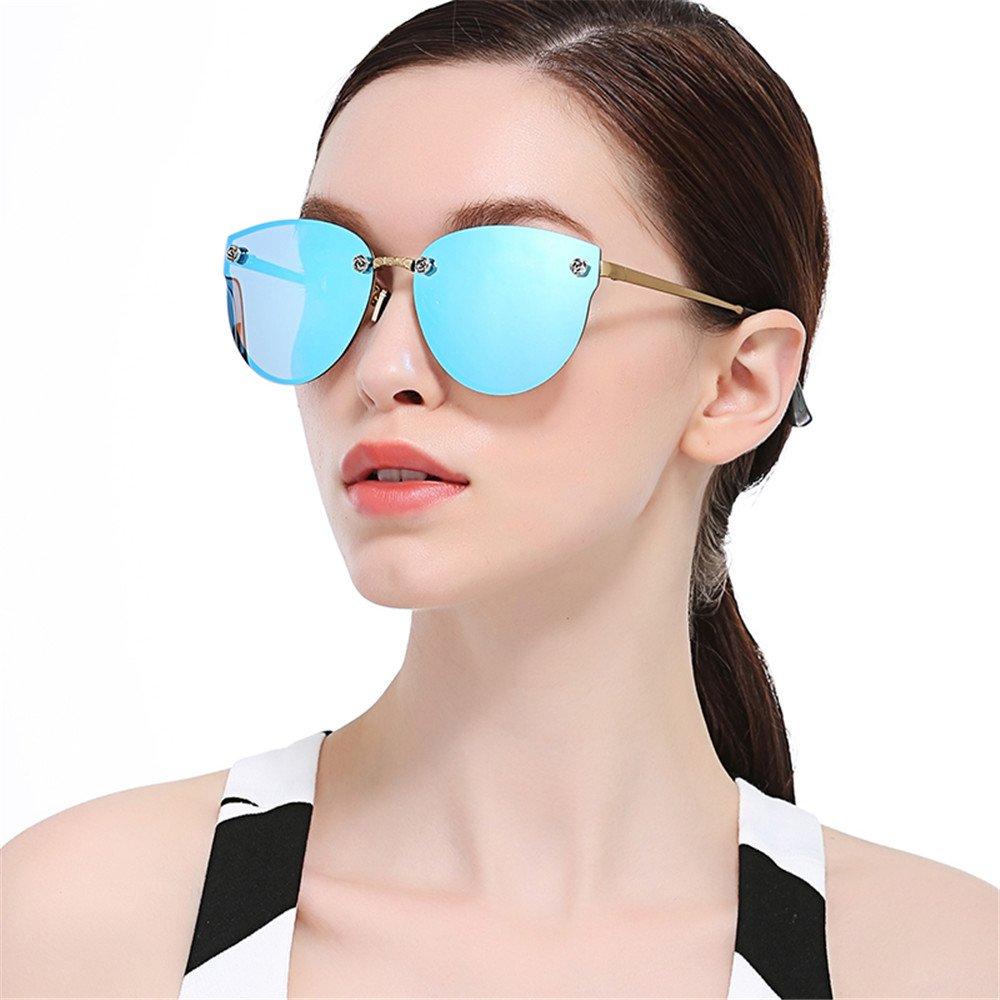WELUK Fashion Polarized Rimless Cateye Sunglasses Oversized Color Tinted Blue
