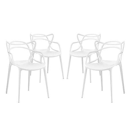 Modway Entangled Dining Set Set of 4 , White