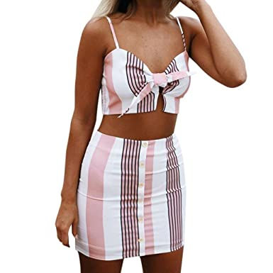 4f223b8f3c1 Caopixx Two Pieces Sets, Womens Bowknot Stripe 2pcs Beach Button Sleeveless Skirt  Set Party Dress