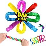 3 otters Pop Tube Toys, 15 PCS Sensory Toys Set Fidget Tube Sensory Tubes Stretchy String Great as Gift, Easter Basket Stuffe