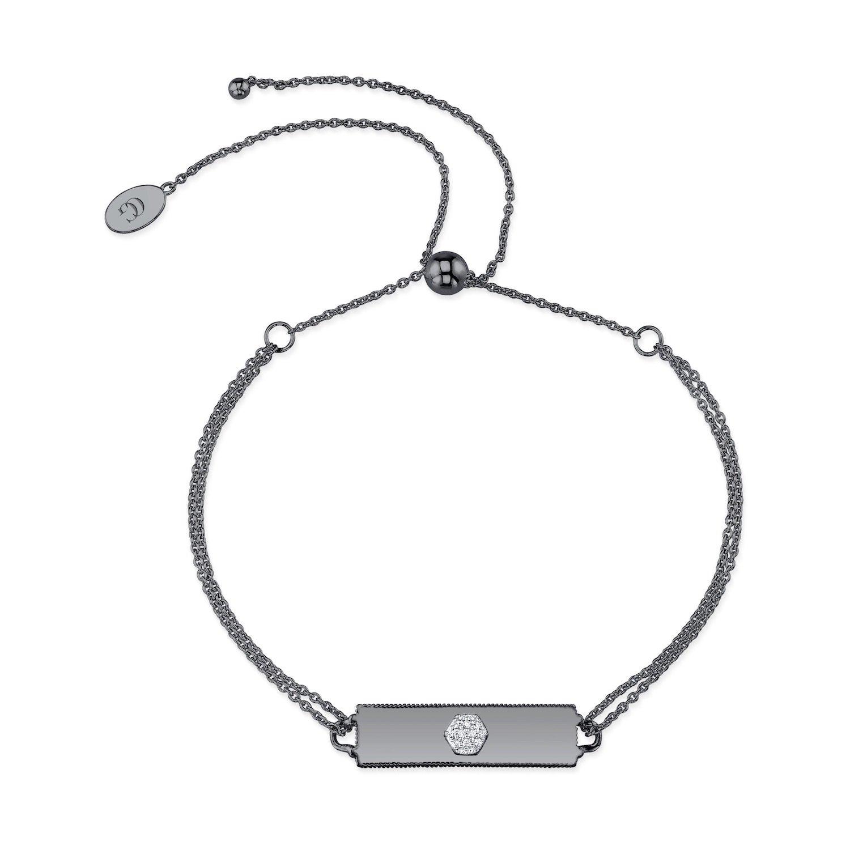 CHARLIZE GADBOIS Sterling Silver Diamond Bracelet (0.054 cttw, I1-I2 Clarity) Gunmetal Nano Coated