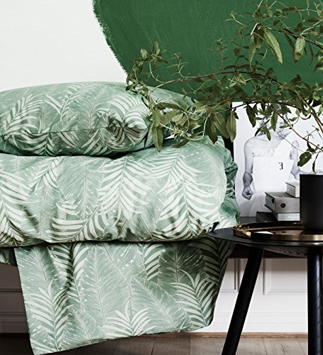 (Duvet Cover Set Botanical Tropical Plants Bedding Modern Emerald Green Blue Jungle Leaves Branches Floral Print 100-percent Cotton (Queen, Dusty)