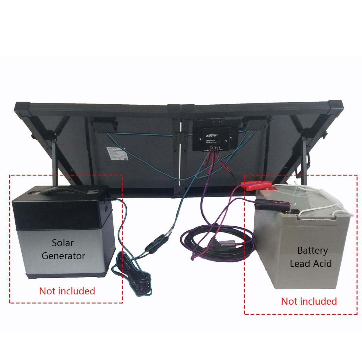 ACOPOWER 100W Portable Solar Panel Kit, Waterproof 20A Charge Controller for Both 12V Battery and Generator by ACOPOWER (Image #5)