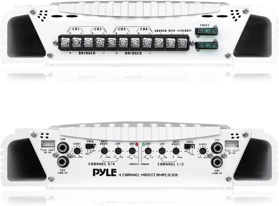 Pyle Elite PLMRA430BT 1000 Watt 4 Channel Amplifier Bluetooth Marine ATV Amp