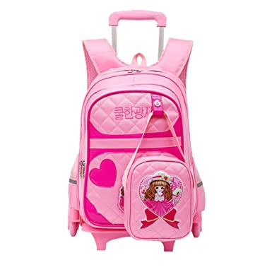 Amazon Com Fanci 2pcs Cartoon Girls Kids Rolling School Backpack