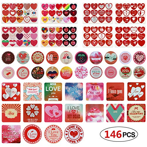(Phogary 146 PCS Heart Stickers Valentine's Day Present Stickers Self Adhesive Tag Labels Heart-Shaped Decorative Decals for Wedding Valentine's)