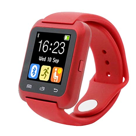 Tongshi Bluetooth inteligente reloj podómetro saludable para el iPhone LG Samsung teléfono (Rojo)