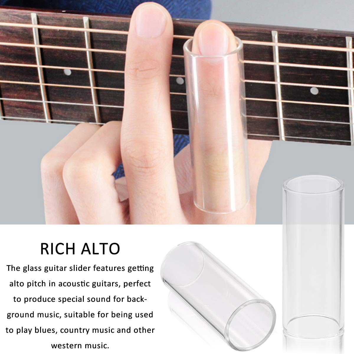 X-Mile 3 Piezas Guitar Sliders Guitar Finger Cots con 2 Piezas Slide de Acero 1 Pieza Slide de Cristal Inoxidable en Caja para Country Music Heavy Metal ...