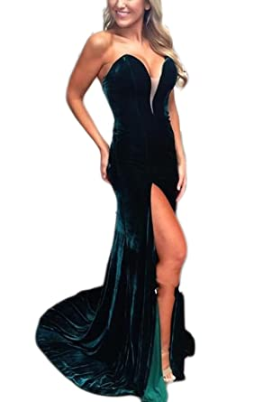 Veilace Womens Velvet Mermaid Evening Dress Front Slit V-Neck Formal Party Prom Gowns