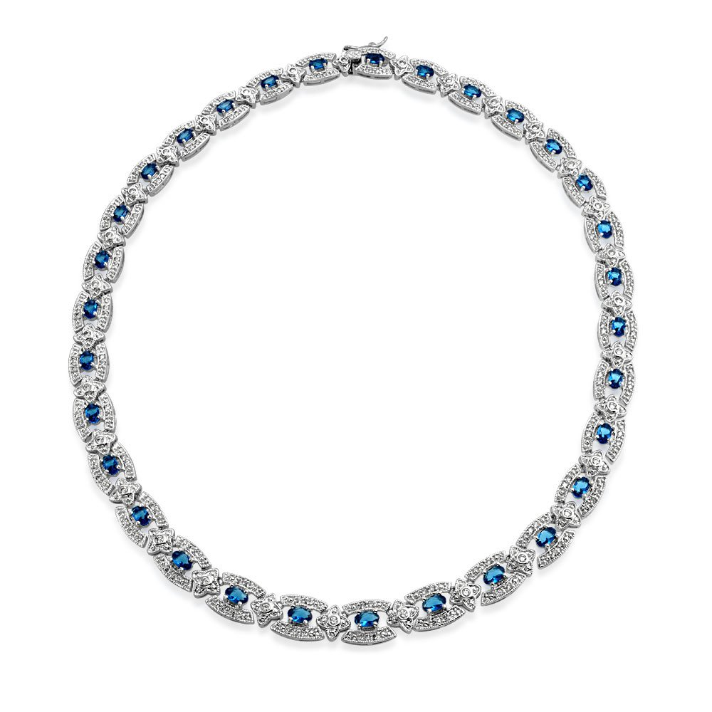 Bling Jewelry CZ Simulated Sapphire Art Deco Style Rhodium Plated Tennis Necklace 16.5 Inches by Bling Jewelry