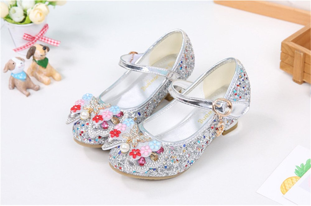 Man's/Woman's Dress Shoes - Sparkling Kids Girls Sparkling - Sequin Princess Shoes Mary Jane Bowknot Low Heel Shoes Strong heat and wear resistance delicate Popular recommendation RB86535 7566e9