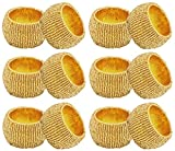 SKAVIJ Decoration Party Gold Napkin Rings Set of 12 Handmade Round for Weddings Dinner Parties or Every Day Use