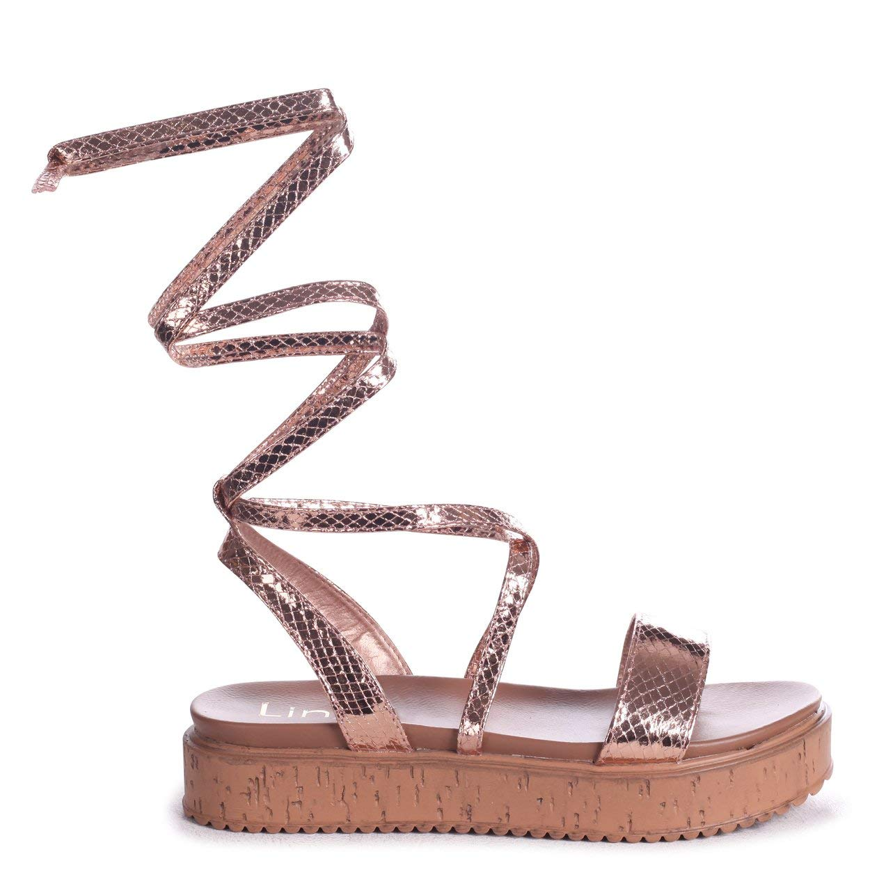 fd056283e58 Linzi Trudy - Rose Gold Snake Tie Up Espadrille Inspired Flatform   Amazon.co.uk  Shoes   Bags