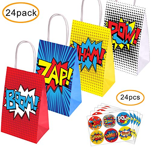 Superhero Party Supplies Favors, 24PC Superhero Party Bags For Superhero Theme Birthday Party Decorations with 24 Superhero Stickers]()