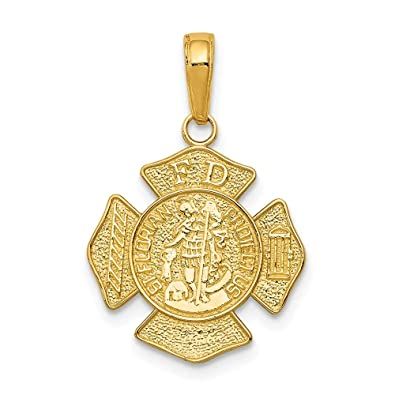 56812299e5a Amazon.com: 14k Yellow Gold Small Saint Florian Badge Pendant Charm Necklace  Religious Patron Medal St Fine Jewelry Gifts For Women For Her: Jewelry