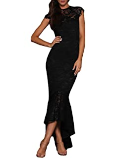 ed1eb768b01 Paitluc Women Embroidery Mermaid Lace Long Formal Evening Party Elegant  Dresses