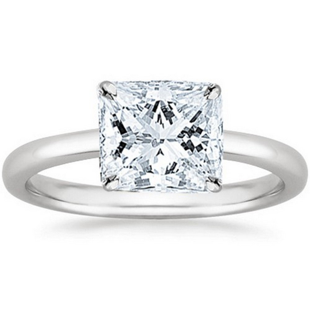 14K White Gold Princess Cut Solitaire Diamond Engagement Ring (1 Carat J-K Color I2 Clarity) by Diamond Manufacturers USA