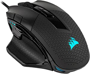 Corsair Nightsword RGB, Performance Tunable FPS/MOBA Gaming Mouse, Black, Backlit RGB LED, 18000 DPI, Optical