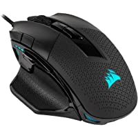 Corsair Nightsword RGB, Mouse para Juegos FPS/MOBA, Negro, retroiluminación RGB LED, 18000 dpi, óptico
