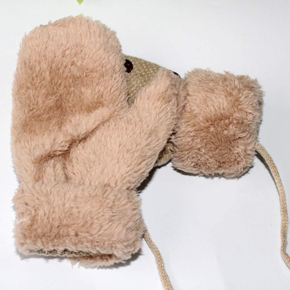 Mbby Muffole Neonato Invernali,0-7 Anni Guanti Bimba Bimbo Morbido E Caldo Addensare Antigraffio Tinta Unita,Guanti Bambini Con Corda Anti-Smarrimento