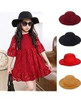LianLe Baby Girl 2-7 Years Old Fashion Vintage Wide Brim Wool Felt Fedora Cloche Hat