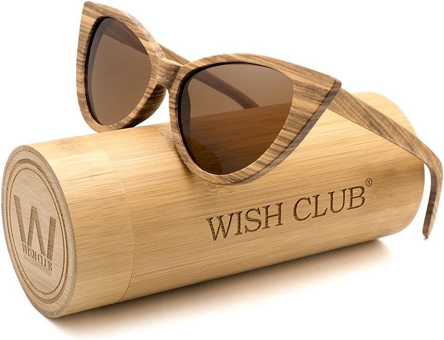 619d9bec8a Cat Eye Bamboo Polarized Sunglasses Wood for Women Girls Handmade Mirrored  Lenses Vintage Wooden UV400 Eyewear Fashion Light Cute Sun Glasses with Box  ...
