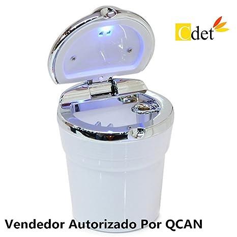 Cdet Coche cenicero coche con cinturón con cinta sellada con luces LED cenicero portátil para coche