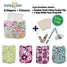 Babygoal Baby Reuseable Washable Pocket Cloth Diaper 6pcs+ 6 Inserts 6fg26
