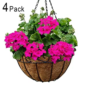 Metal Hanging Planter Basket with Coco Coir Liner 12 Inch Round Wire Plant Holder with Chain Porch Decor Flower Pots Hanger Garden Decoration Indoor Outdoor Watering Hanging Baskets