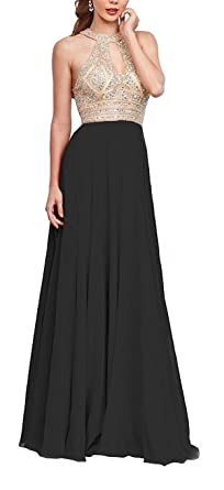 QSYE Womens Halter Beaded Prom Dresses Long Evening Formal Gowns Black,2