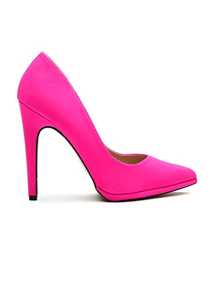 6370f283b Qupid Women Hot Pink Pointy-Toed Stilettos (9UK): Buy Online at Low ...
