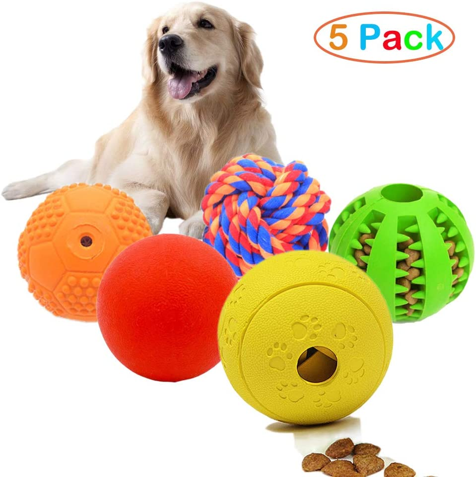 Volacopets 5 Different Functions Interactive Dog Toys,Dog Puzzle Toys,IQ Treat Ball for Small Medium Large Dog,Dog Squeaky Balls,Dog Chew Toys Durable,Dog Ball,Food Treat Dispensing Toys,Rope Toys