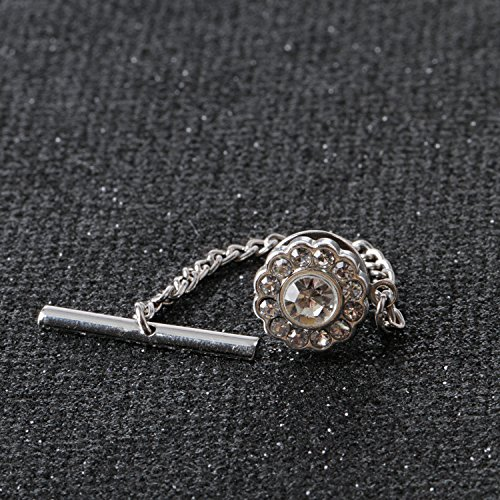 Digabi Men's Jewelry Flower 10mm Tie Tack With Chains and Clutch Back Glittering Rhinestone and Clear Crystal Tie Clip Button Color Options by Digabi (Image #2)