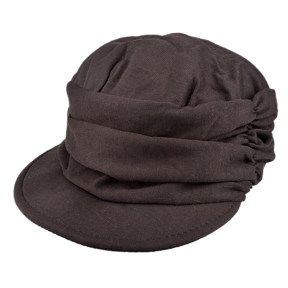 WHMAXIM WenHong Women Girl Fashion Design Draped Layers Beanie Rib Hat Brim Visor Cap WH1280
