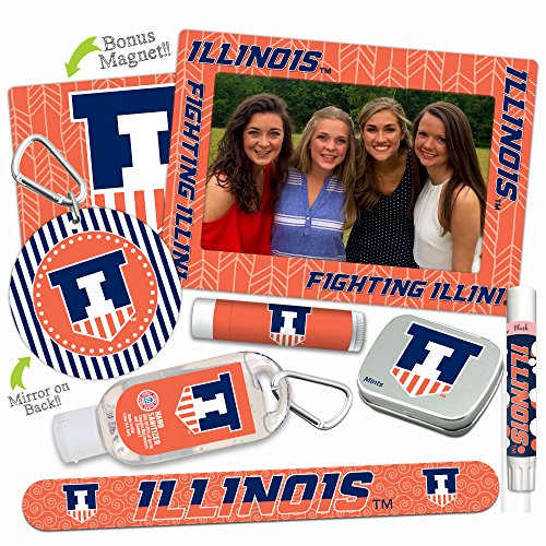 Illinois Fighting Illini Deluxe Variety Set with Nail File, Mint Tin, Mini Mirror, Magnet Frame, Lip Shimmer, Lip Balm, Sanitizer. NCAA Gifts and Gear for Women, Mother's Day