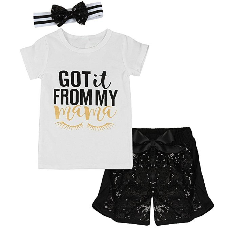 7a941b191325af Amazon.com  Toddler Baby Girls Mama T-shirt+Sequined Shorts+Headband 3pcs  Outfits Set  Clothing
