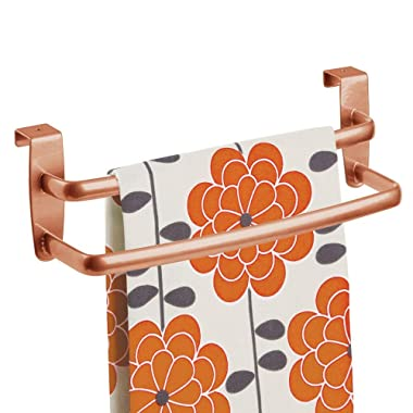 mDesign Metal Modern Kitchen Over Cabinet Double Towel Bar Rack - Hang on Inside or Outside of Doors, Storage and Organization for Hand, Dish, Tea Towels - 9.75  Wide - Copper