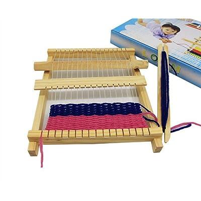 Chonor Telar de Madera con Lana para Niños, Completo Kit Telar con Hilo de Juguete Artesanales Set de Madera de Tejer Telar para Principiantes: Juguetes y juegos